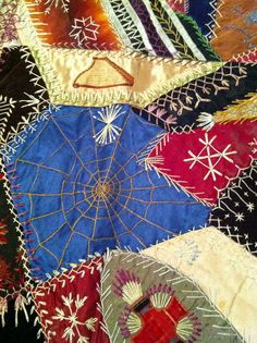 detail, Crazy Quilt, circa 1875-1900, silk, brocade, velvet.  Brooklyn Museum  A Quilter by Night
