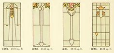 Leaded Glass from International Art Glass Catalogue by National Ornamental Glass Manufacturers Association of the United States and Canada, published in Stained Glass Door, Stained Glass Designs, Stained Glass Projects, Stained Glass Patterns, Leaded Glass, Art Nouveau, Art Deco, Construction Drawings, Glass Mosaic Tiles