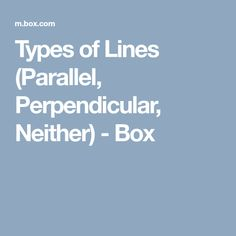 Types of Lines (Parallel, Perpendicular, Neither) - Box