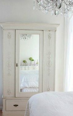 3 Vivacious Tips: Shabby Chic Bedroom shabby chic furniture bedroom.Shabby Chic Home Colour Schemes shabby chic blue decor. Armoire Shabby Chic, Shabby Chic Bedrooms, Shabby Chic Homes, Shabby Chic Furniture, Vintage Armoire, Stylish Bedroom, Farmhouse Bedrooms, Vintage Cabinet, White Armoire