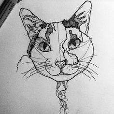 awesome Geometric Tattoo - Application idea: Geography-use land masses to create the markings of the cat.  ...