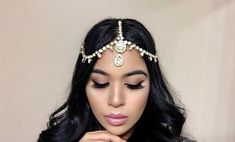 Hair Jewelry Acessories Glamorous Gold Head Piece Fits all Adult Teen/Sizes - Glamorous Gold Head Piece Fits all Adult Teen/Sizes Bobby Pin Hairstyles, Headband Hairstyles, Braided Hairstyles, Bollywood Hairstyles, Hair Scarf Styles, Rhinestone Wedding, Rhinestone Jewelry, Gold Headpiece, Hair Accessories For Women