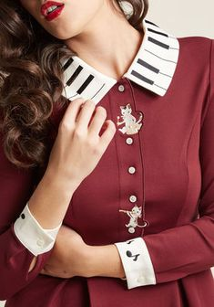 Miss Patina Musical Ma'am Pleated Long Sleeve Dress