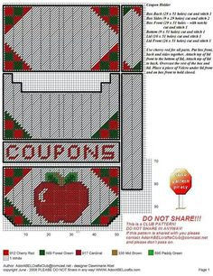 Apple Coupon holder Plastic Canvas Coasters, Plastic Canvas Tissue Boxes, Plastic Canvas Crafts, Plastic Canvas Patterns, Stitch Box, Kitchen Canvas, Plastic Canvas Christmas, Checkbook Cover, Coupon Holder