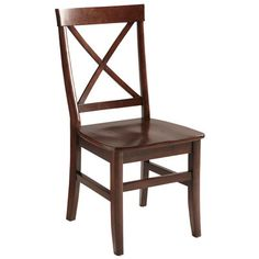 """<div class=""""hide-on-individual""""> <div>• Mahogany brown</div> <div>•  17.75""""W x 21.75""""D x 36.5""""H</div> <div>• Rubberwood, mango wood</div> <div>• Antiqued</div> <div>• Assembly required</div>         <br> </div> <div class=""""hide-on-sets"""">X marks the spot—where you'll want to be sitting from now on. Put your design savvy on the map with our cross-back Torrance Side Chair. Clean lines, comfy contoured back and seat, and gleaming antiqued hardwoods make a bold statement:..."""