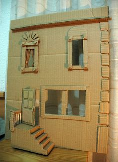 Cardboard Facade (01/14/2013) - Many more cardboard building ideas here.