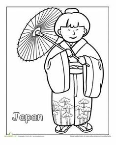 Asian Pacific American Heritage Month First Grade People Community & Cultures Worksheets: Japanese Traditional Clothing Coloring Page A coloring sheet for graders about people from around the world. This one is of a Japanese girl in traditional clothes. Detailed Coloring Pages, Colouring Pages, Coloring Pages For Kids, Coloring Sheets, Coloring Books, Around The World Theme, Kids Around The World, Japanese Culture, Japanese Art