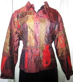 CHICO DESIGN Size 3 Silk Lined Jacket/Top Burg,Red,Black,Maroon,Raised Pattern #Chicos #ButtonDownShirtjacket