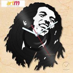 Relogio em disco de vinil Bob Marley