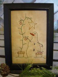 Primitive Snowman and Christmas Tree Framed Stitchery