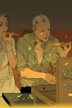 The second of Cassandra Jean's set of ten postcards for Lady Midnight. Emma and Malcolm eat some unusual pizza.19 more days to Lady Midnight!