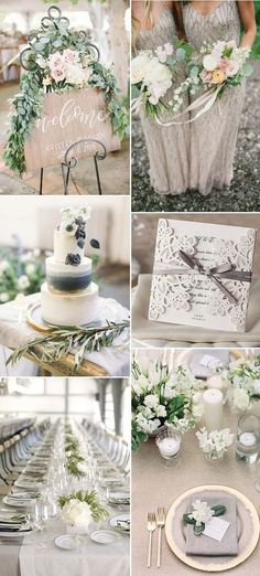 neutral grey and green wedding colors ideas for 2017