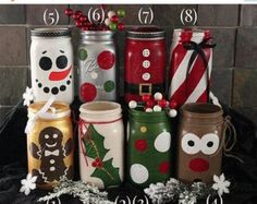 Items similar to Christmas Mason Jars-Hand Painted Santa, Reindeer, Snowman, and Penguin on Etsy