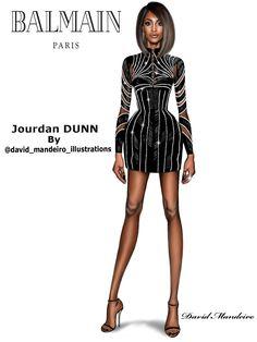 Jourdan Dunn in Balmain by David Mandeiro Illustrations. #Digital #Drawing by #davidmandeiroillustrations #Digitalart #art #Fashion #JouranDunn