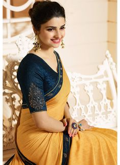Best 12 Yellow and Blue Embroidered Silk Georgette Saree Trendy Sarees, Stylish Sarees, Simple Sarees, Kerala Saree Blouse Designs, Indian Gowns Dresses, Tunic Dresses, Saree Photoshoot, Saree Trends, Fancy Blouse Designs
