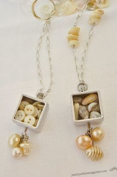 Tiny treasure box necklaces filled with buttons and shells.