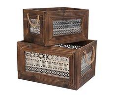 Set de 2 cajas en madera y metal - marrón