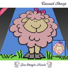 Casual Sheep crochet blanket pattern; c2c, cross stitch; graph; pdf download; no written counts or row-by-row instructions by TwoMagicPixels, $3.99 USD