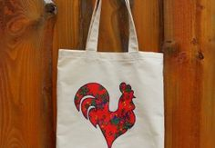 "Torba FOLK-czerwony, ""kogut"" Tote bag with red folk bird."