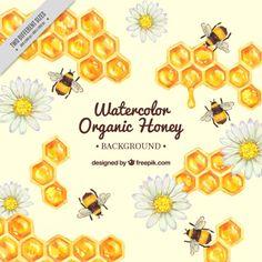 Mão favo de mel pintado com abelhas fundo Vetor grátis