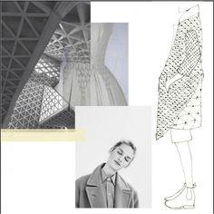 Fashion Sketchbook - smocked jacket design inspired by architecture - fashion drawing; fashion portfolio layout // Faiza Matovu