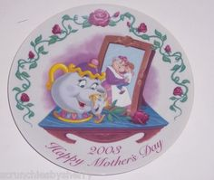 2003 Mother's Day A Reflection of Love Mrs Potts Collector Plate Grolier Disney