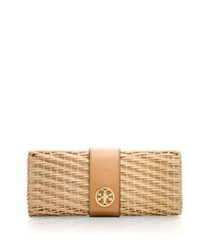 Lacquered Rattan Turnlock Clutch | Womens Clutches | ToryBurch.com
