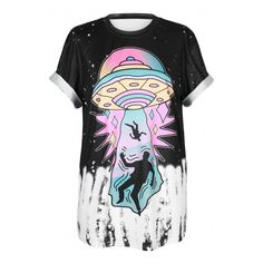 New Arrival Fashion UFO Pattern Round Neck Short Sleeve Casual Tee ($17) ❤ liked on Polyvore featuring tops, t-shirts, patterned tops, short sleeve tee, print t shirts, print tees and print top