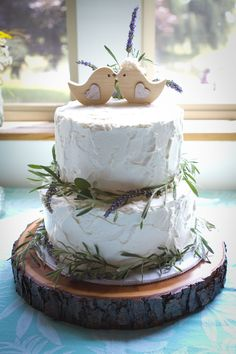 Real wedding; rustic, simple wedding cake with rosemary and lavender. Love birds. Wooden base. Photo by Grace VanEarden