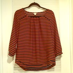 JCrew 3/4 Sleeve Top Navy and red striped 3/4 sleeve top with pretty crochet detail around the bottom. This top is just like new! J. Crew Tops Blouses