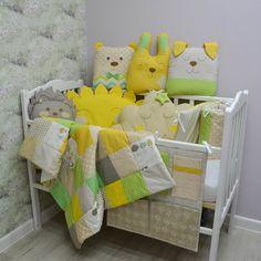Crib bumper - Baby bed bumper - Crib bedding - Cot bumper set - baby shower gift - Crib bumpers Cot Bumper Sets, Crib Bumpers, Crib Bedding, Cribs, Baby Shower Gifts, Toddler Bed, Blanket, Knitting, Pattern
