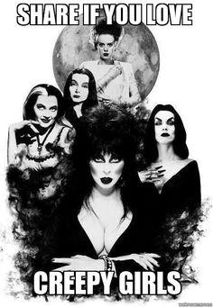 (L-R) Lily Munster (Yvonne DeCarlo), Morticia Adams (Carolyn Jones), Bride of Frankenstein (Elsa Lanchester), Elvira (Cassandra Peterson), and Vampira (Maila Nurmi).