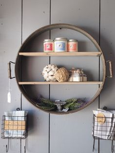 Re-purposed Drum Shelf