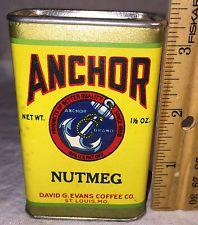 ANTIQUE ANCHOR SPICE TIN NUTMEG CAN DAVID G EVANS COFFEE CO ST LOUIS MO MISSOURI