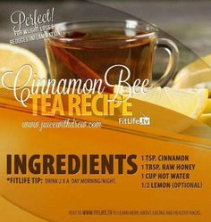 The Cinnamon Bee Tea Recipe.  Cinnamon and honey is a perfect combination to help you fight flu and colds and also strengthens your immunity! Try this now. #cinnamon #honey
