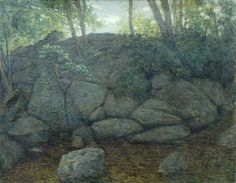 """""""Woodland Rocks,"""" Julian Alden Weir, 1910-1919, oil on canvas, 28 x 35.8"""", The Phillips Collection."""