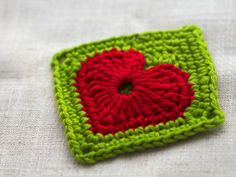 Modern crochet heart square