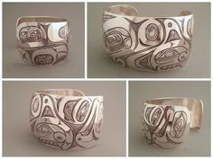 I put a lot of hours into this piece - Orca, Sea-bear & Salmon silver bracelet #nativeamerican #firstnations #indian