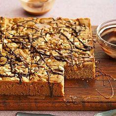 Chocolate-Drizzled Caramel-Cashew Blondies