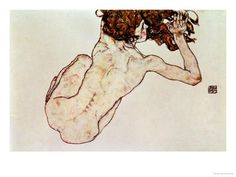 Crouching Nude, Back View, 1917 Giclee Print by Egon Schiele at Art.com