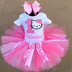 Pretty In Pink Hello Kitty Personalized 1st Birthday Tutu Outfit