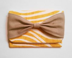 Bow Wallet Or Business Card Holder Yellow Gray White