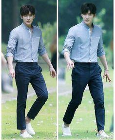A look. Mandarin collar shirt and pants. Ji Chang Wook Smile, Ji Chang Wook Healer, Asian Actors, Korean Actors, Mandarin Collar Shirt, Korean Celebrities, Celebs, Seo In Guk, Japanese School