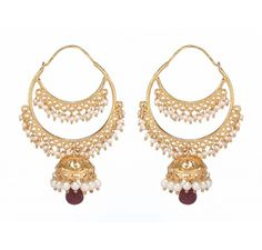 These Jhumki Hoops are in gold plated sterling silver with semi precious stones - Ruby and Fresh Water Pearls-2 p/c, having colour combination of White and Maroon.