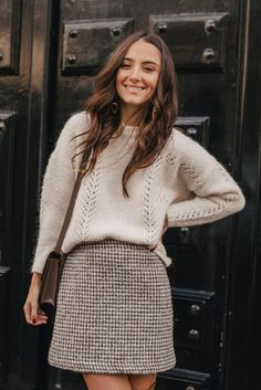 Neat Casual Outfits, Cute Outfits, Skirt Outfits, Fall Outfits, Fashion Outfits, Mode Bcbg, Style Parisienne, Tweed, Elegant Outfit