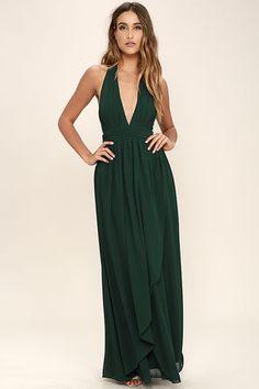 Lovely Forest Green Dress - Maxi Dress - Halter Dress - $84.00