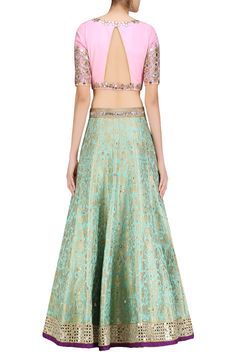 Turquoise blue handwoven brocade lehenga with pink embroidered blouse available only at Pernia's Pop Up Shop.