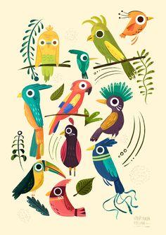 Feather Illustration, Pattern Illustration, Graphic Design Illustration, Cartoon Drawings, Animal Drawings, Art Drawings, Design Brochure, Tropical Art, Design Poster