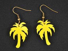 Ohrhänger - Palme Plexiglas Ohrringe Banane Plexiglas LC gelb - ein Designerstück von miniblings bei DaWanda