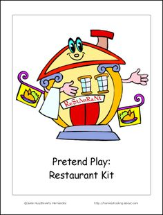"FREE ""Let's Play Restaurant"" Kit w/ printable cover and activity pack!!"
